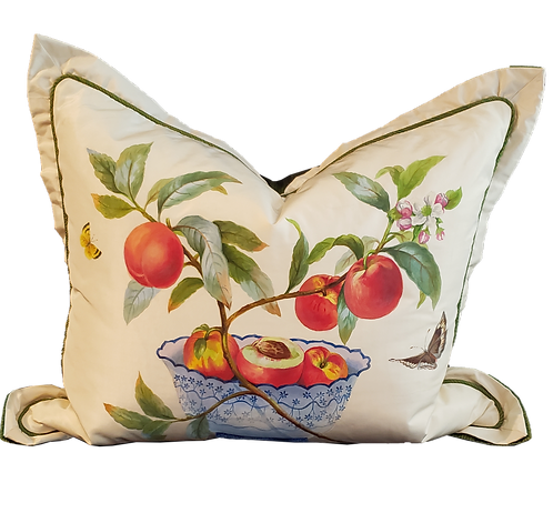 Hand-painted Peaches in Bowl on Silk Pillow