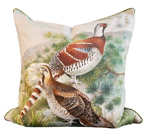 Hand-painted Pheasants on Silk Pillow