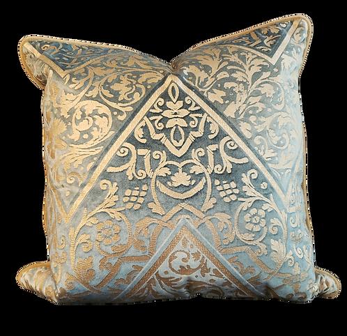 Aqua & Taupe Fortuny Print Pillow
