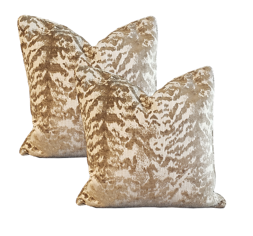 Bronze & Gold Chenille Tiger Pillow - Pair