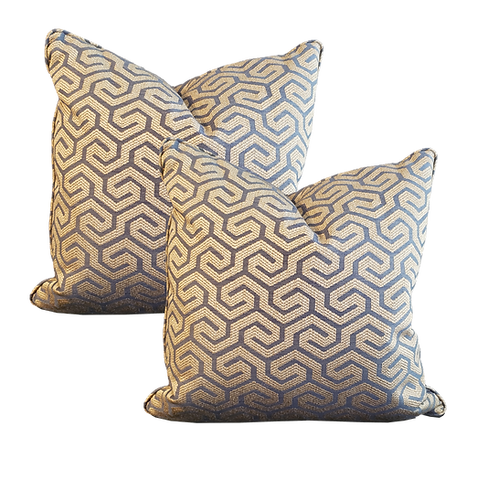 Blue & Beige Asymmetrical Greek Key Pillow - Pair