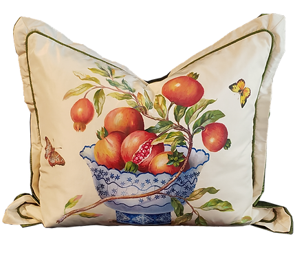 Hand-painted Pomegranates in Bowl on Silk Pillow