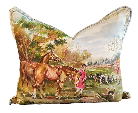 European Hunt Scene Hand-painted on Silk Pillow