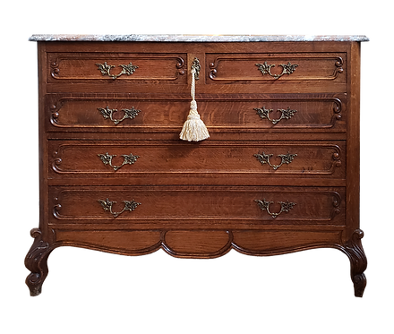 Vintage Marble Top French Oak Chest