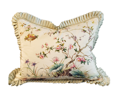 Birds & Flowers Hand-painted Silk Pillow