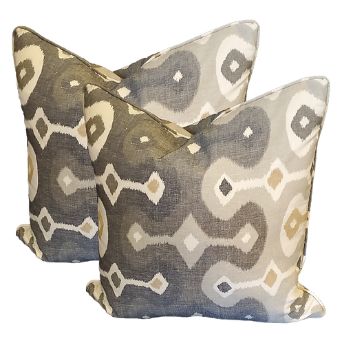Gray & Gold Tribal Pattern Pillow - Pair