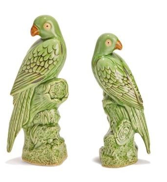 Tropical Parrot Figures - Pair