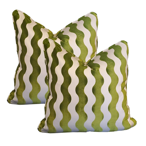 Green & Ivory Velvet Undulating Stripe Pillows -Pair