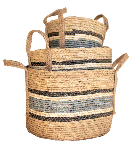Blue Striped Round Rush Baskets