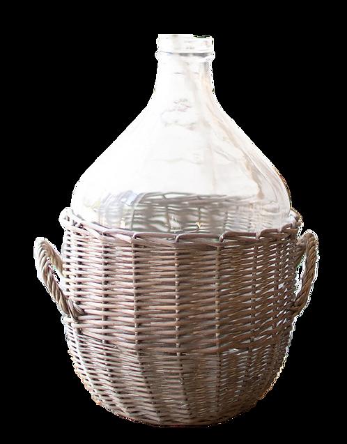 Clear Glass Damigiana with Grey Wicker Wrap