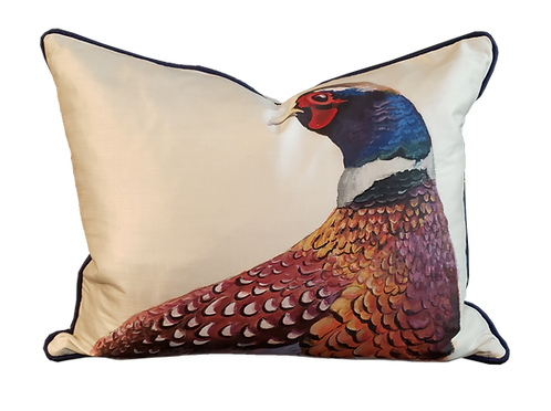 Hand-painted Pheasant on Silk Pillow