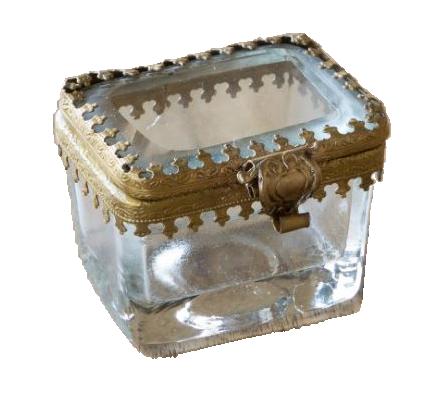 Antique Brass & Glass Pill Box