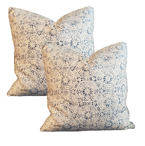 Blue & Ivory Hex Block Pillow - Pair