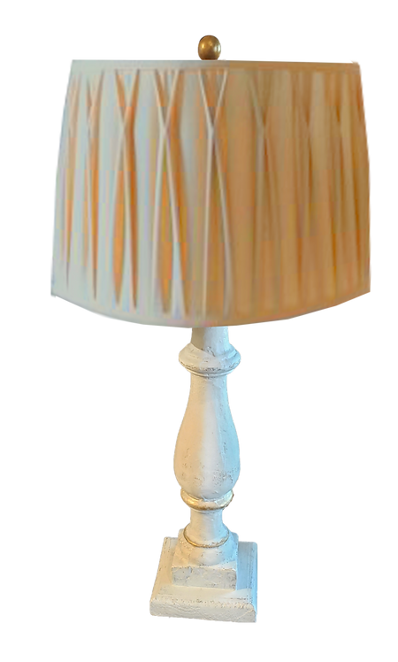 Column Lamp with Smocked Shade