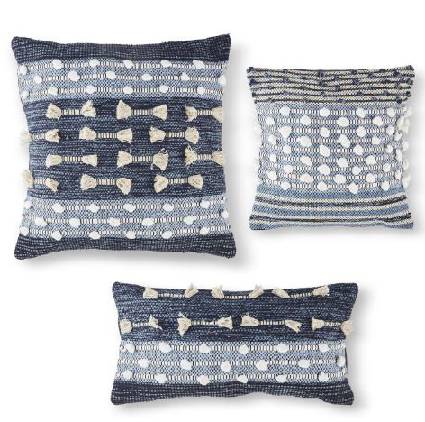 Hand-loomed Blue & White Pillow
