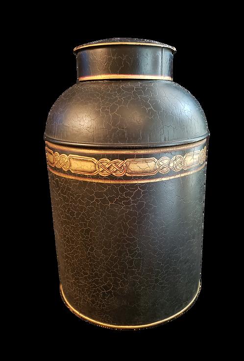 Black Crackled Tin Tea Jar