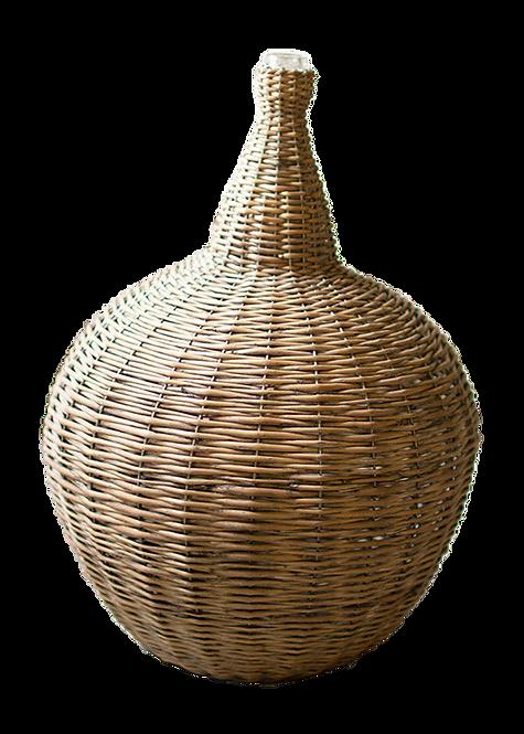 Wicker Vessel with Glass Neck