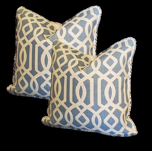 Blue & Ivory Fretwork Pillow - Pair
