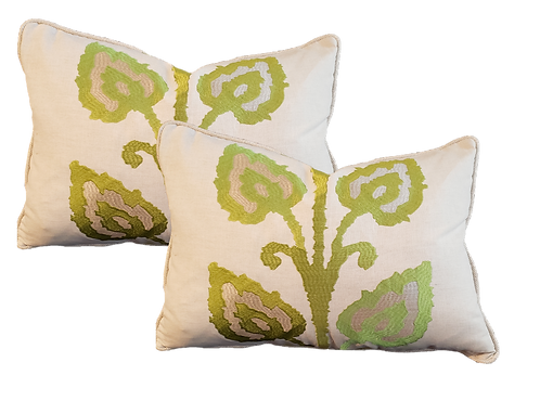 Green & Taupe Vine Pillow - Pair