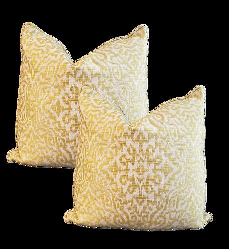 Citron Figured Woven Pillow - Pair