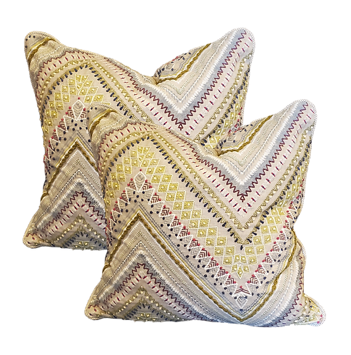 Embroidered Chevron Sampler Pillow - Pair