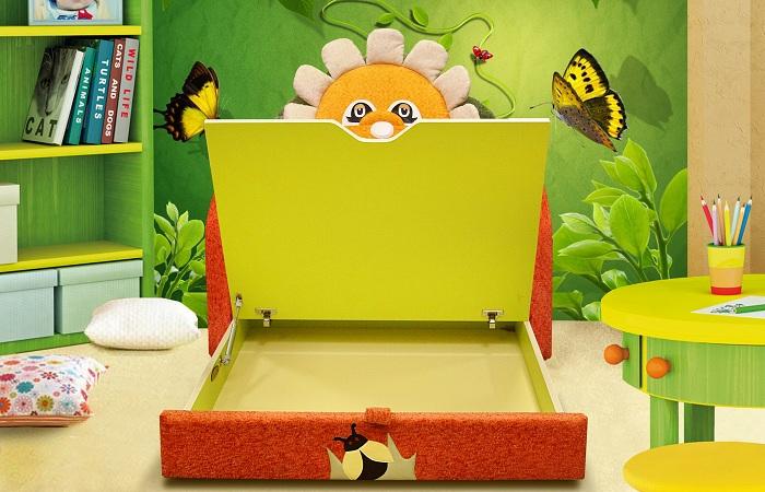 Детский диван. Ящик для белья