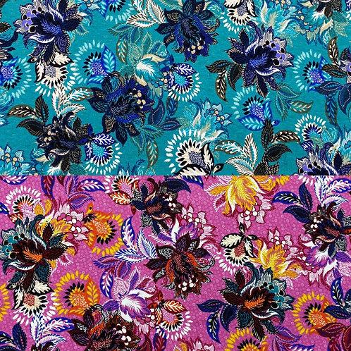 Viskosejerseystoff, florales Muster auf pinkem oder türkisem Hintergrund