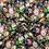 Thumbnail: Polyesterstoff, Blusenstoff, leichter Crépe, Florales Muster, Rosen, blau, grün