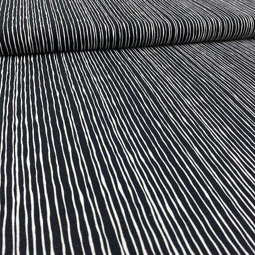 Baumwollstoff, Streifen, schwarz, weiß