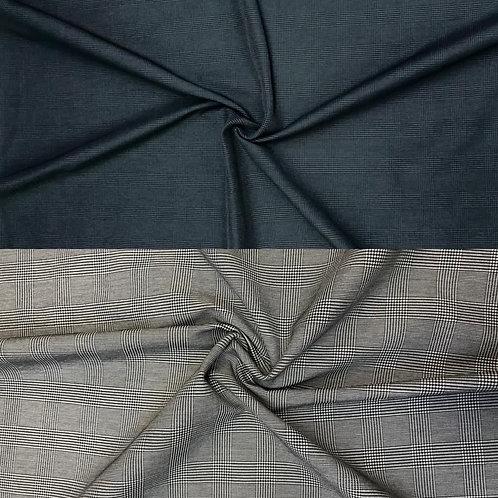 Karo Stoff, leicht elastisch, grau oder petrol
