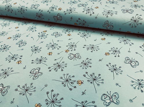 Kinderbaumwolljersey, Pusteblumen und Schmettelinge auf mintfarbenem Hintergrund