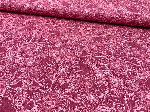 Jerseystoff, leichter Sweatshirtstoff, florales Muster in Beereton