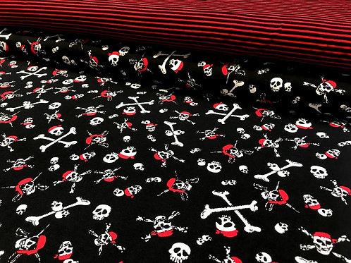 Jersey, Baumwollstoff, Piratentotenköpfe oder Streifen, rot, schwarz, weiß