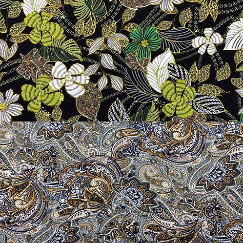 Viskosejerseystoff, florale Muster, schwarz, grün, grau, braun