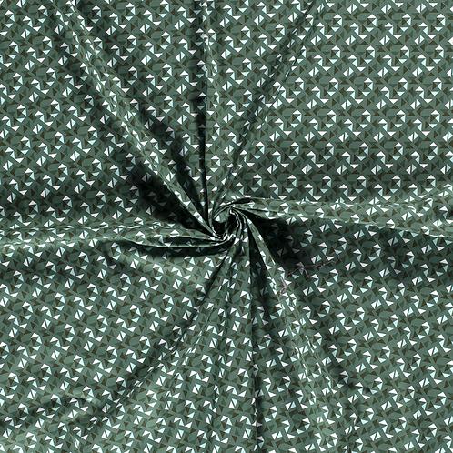 Baumwollstoff, Dreiecke auf dunkelgrünem Hintergrund