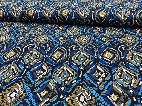 Viskosejersey, abstraktes Muster mit Rauten und Linien, Blau, Khaki