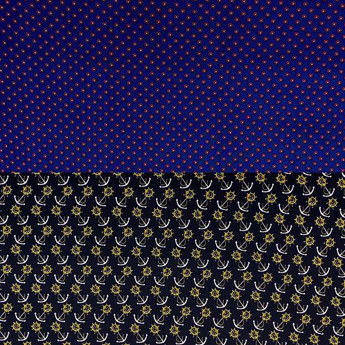Baumwollstoff, Anker auf schwarzem oder rot-weiße Punkte auf blauem Hintergrund