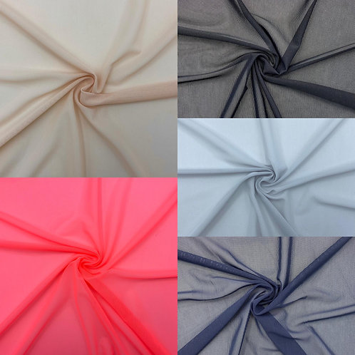 Mesh Stoff, Uni, rosa, schwarz, hellgrau, neon-lachs ,dunkelblau