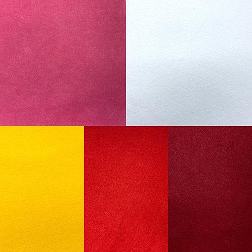 Filzstoff, Uni, 90 cm breit und 2 mm dick, pink, weiß, gelb, rot, dunkelrot