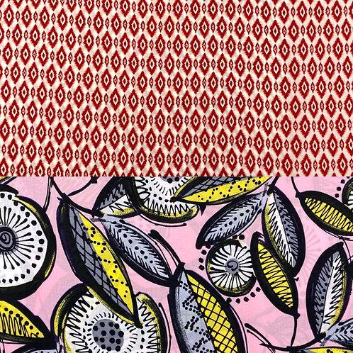 Viskose, Sommerstoff, geometrisches Muster, Rauten, Blätter