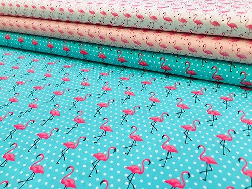 Baumwollstoff, Flamingos auf unterschiedlichen Hintergründen mit Punkten