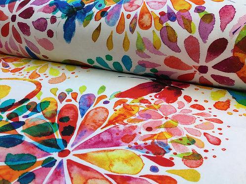 Baumwolle, Canvas, bunte Blumen und Schmetterlinge auf weißem Hintergrund