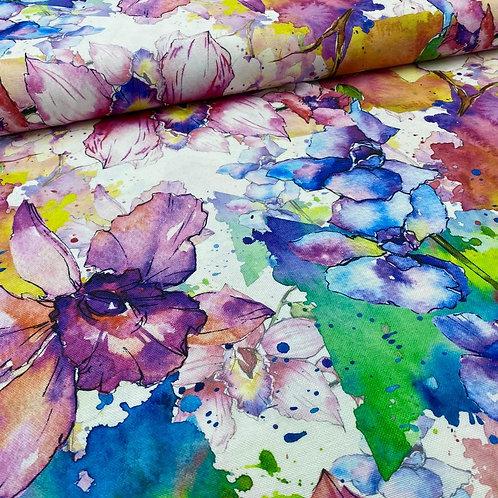Canvas Stoff, Baumwollstoff, Dekostoff, Aquarell, Blumen, bunt