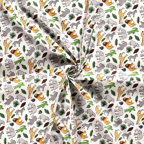 Baumwollstoff,  Zootiere auf weißem Hintergrund