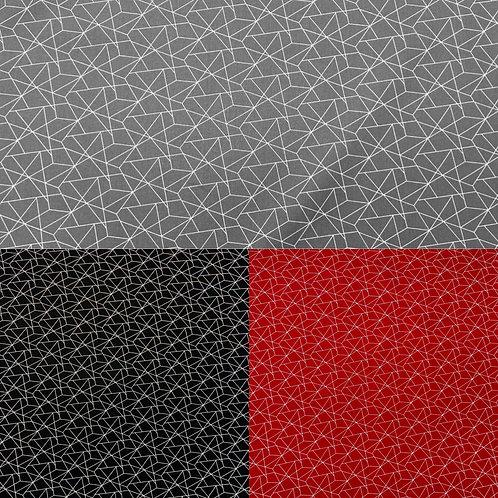 Baumwollstoff, geometrisches Muster, grau, schwarz, rot