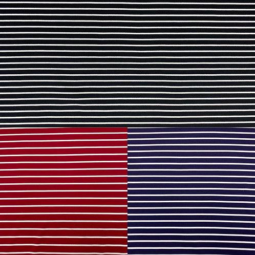 Viskosejerseystoff, weiße, Streifen auf schwarzem, rotem oder blauem Hintergrund