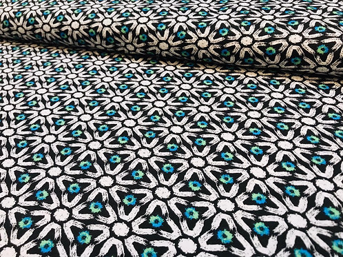 Baumwolljersey, Geometrische Muster, schwarz, weiß, grün, blau