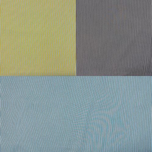 Baumwollstoff, Streifen auf senfgelbem, schwarzem, petrolfarbenem Hintergrund