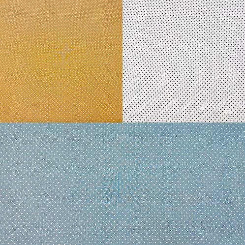 Baumwollstoff, Pünktchen auf senfgelbem, weißem oder petrolfarbenem Hintergrund