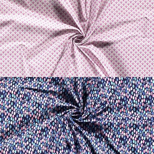 Baumwollstoff, abstrakte Blumen und Punkte auf einfarbigem Hintergrund